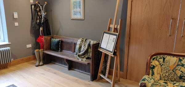2 seater Bath Abbey Pew with wellington boots